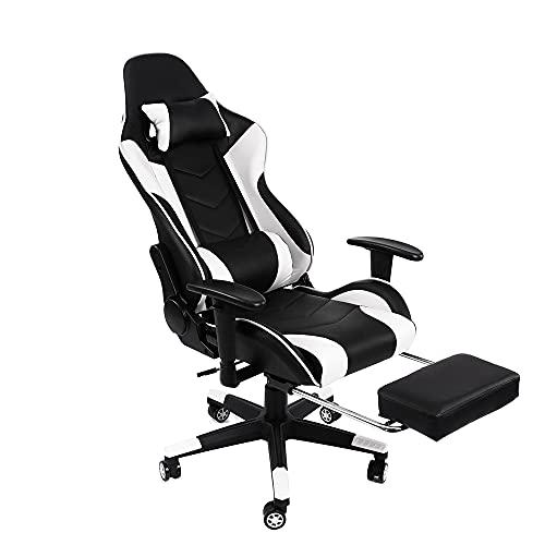 Fityou Gaming Stuhl Bürostuhl Gamer Ergonomischer Stuhl Einstellbare Armlehne Einteiliger Stahlrahmen Einstellbarer Neigungswinkel Racing Stuhl (Weiß)