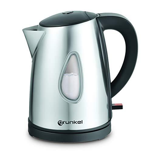 Grunkel - Hervidor de Agua electrico con Capacidad de 1.5L. Proteccion contra sobrecalentamiento y Carcasa de Tacto frio - Negro (Acero Inoxidable, 1 L)