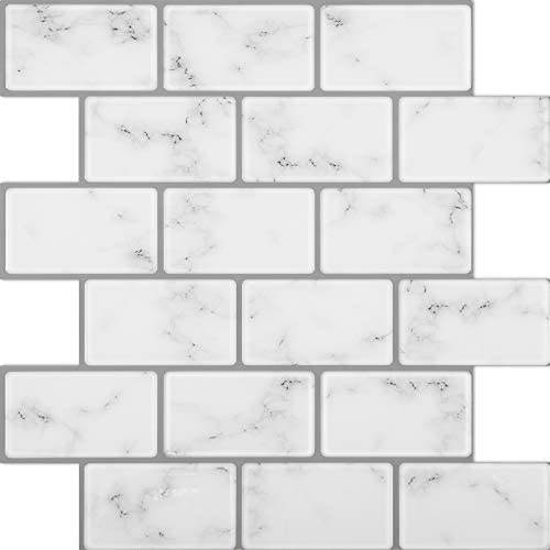 Lagute 5 Sheet 12 x 12 Thicker Design Stick on Backsplash Tiles Peel and Stick Wall Tiles Marble product image