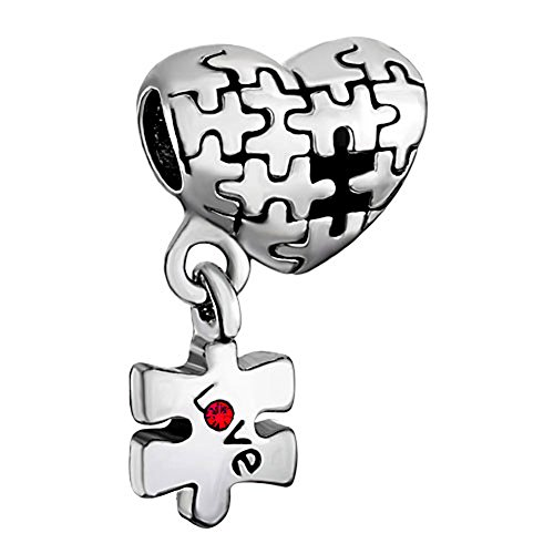 Sug Jasmin - Abalorio para pulseras de abalorios, diseño de pieza de puzzle con mensaje «Love», para concienciación del autismo