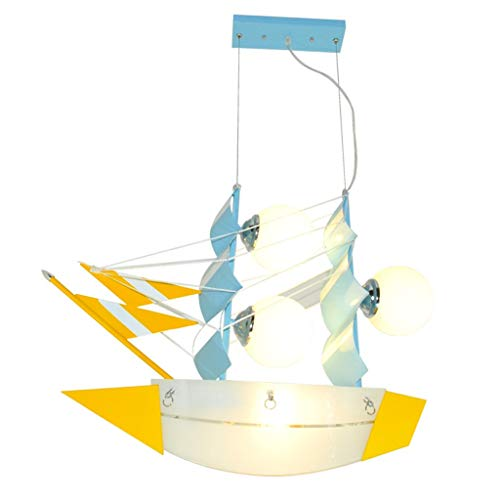 TJZY Novely Chandeliers-Sailboat Chandelier+Pendant Light+Iron Lamp Body Glass Lampshade for Children