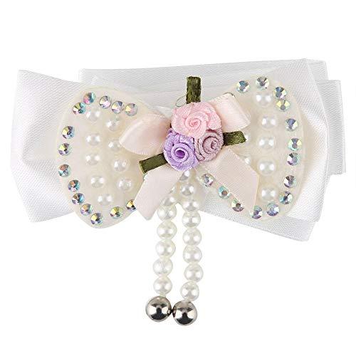 Qiterr Mode einstellbar Fliege Hund Hals Halsband schöne Tuch Perle Blume Halskette