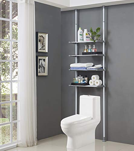 ALLZONE 4 Tier Over Commode Shelving, Over The Toilet Storage Rack, No Drilling, Easy to Assemble, Height and Width Adjustable