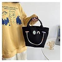 ンス キャンバス トートバッグ 新しいデザイナースマイルプリントシンプルなトートスウィートガールハンドバッグソリッドカラーキャンバストートバッグファッションポータブルスモールハンドバッグシック 贈り物 (Color : Black)
