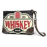 EDFG Whisky Bar Vintage Cartel de chapa de cuero auténtico para mujer Cartera cuadrada grande con luz de muñeca Cartera para teléfono móvil Embrague
