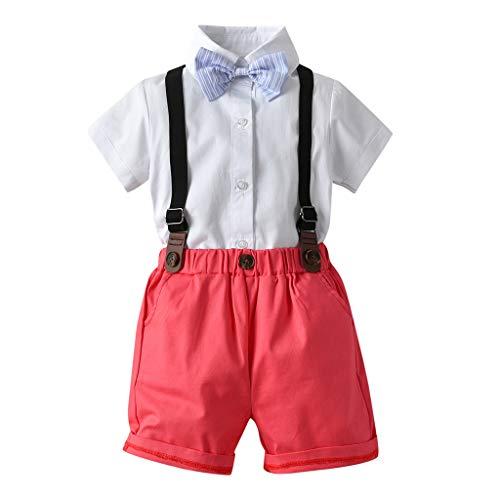 Julhold Peuter Baby Jongen Mode Eenvoudige Gentleman Suits Korte Mouw Katoen Shirt Suspender Shorts Outfit Set 0-5 Jaar