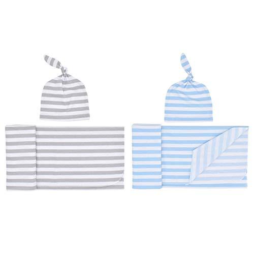 Vaorwne - Juego de 2 mantas de punto para bebé con sombrero, envoltura para recién nacido, mantas para recibir (rayas grises y rayas azules)