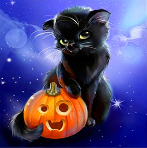 DIY 5D Diamond Painting Complete Kits Cartoon Cat Pumpkin DIY Diamond Painting Full Drill Kids Crystal Rhinestone Embroidery Cross Stitch Diamond Arts Craft for Home Wall Decor Gift 50x50cm H1903