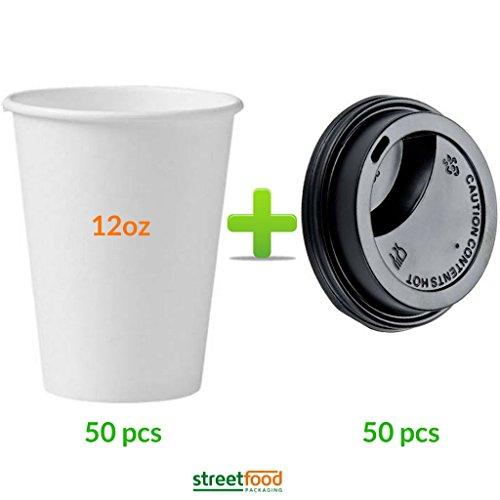 Gobelets Blancs en Carton pour Café à Emporter avec Couvercles Aspirants Noirs (50 Gobelets et 50 Couvercles), Gobelets Jetables de 340 ml à Paroi Simple