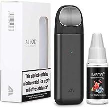 IJOY AI Vape Pod Cigarrillos Electronicos Kit de inicio con Vape Liquid Atomizador recargable 450 mAh Batería recargable Todo en uno Portátil Vape Pen Kits de inicio Vape Negro, sin nicotina