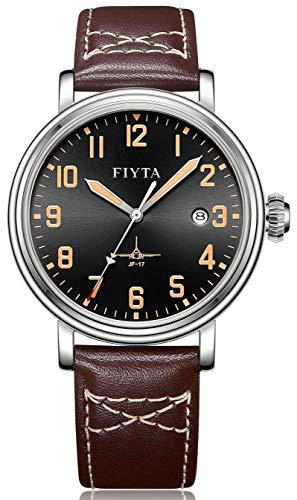 FIYTA MACH DGA31001.WBK - Orologio da aviatore automatico nero con cinturino in pelle marrone