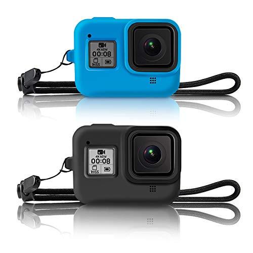 Kupton Schutzhülle für GoPro Hero 8 (Silikon, mit Trageband, Schutzhülle) für Hero8 Action-Kamera-Zubehör (Schwarz + Blau)