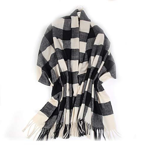 xinxinchaoshi Fular Bufanda de Lana Mujer otoño e Invierno a Cuadros Grandes mantón Bufanda Caliente británica de la Borla del Viento de la Bufanda Manta Bufanda De Seda (Color : P)