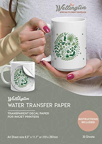 Wellington, Wasserschiebefolie, Aufkleberpapier, TINTENSTRAHL TRANSPARENT, 20 Seiten Erstklassiges Waterslide Wassertransferpapier, Durchsichtig, Bedruckbare Decalfolie, Klebefolie, A4-Größe