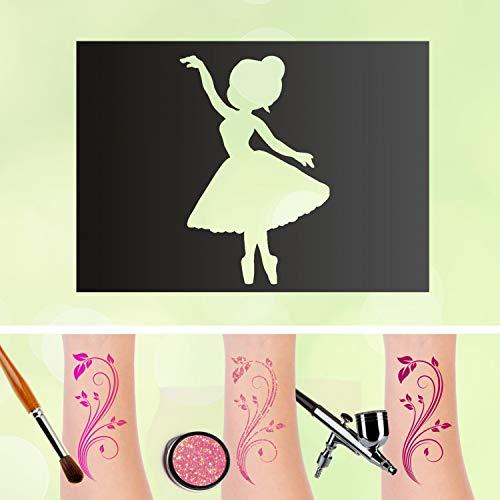 Tattoo Schablonen Ballerina Selbstklebend Kinderschminken Airbrush Größe 1 Stk