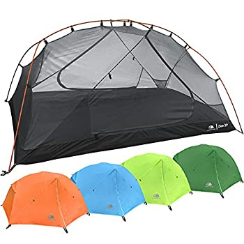 2 Person Backpacking Tent with Footprint - Lightweight Zion Two Man 3 Season Waterproof Ultra Compact 2p Freestanding Backpack Tents for Camping and Hiking by Hyke & Byke  Orange