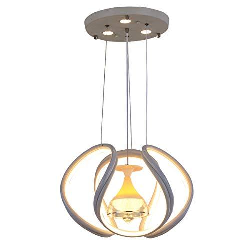 80W LED Lámpara colgante Lámpara de comedor Lámpara de sala de estar Luces regulables para restaurante Lámpara colgante decorativa, luz interior de 1 llama, para estar Dormitorio Hotel Blanco