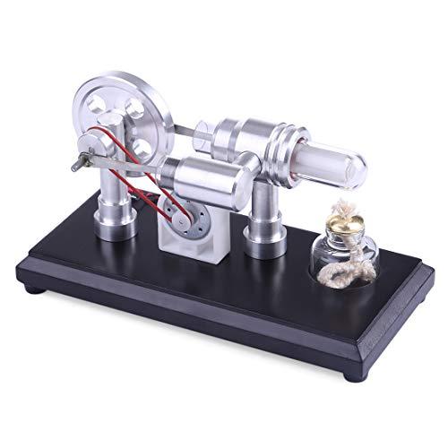 POXL Stirling Motor Bausatz Mini, 2 Zylinder DIY Stirlingmotor Sterling Engine Modell Stirling Engine mit Generator Pädagogisches Spielzeug