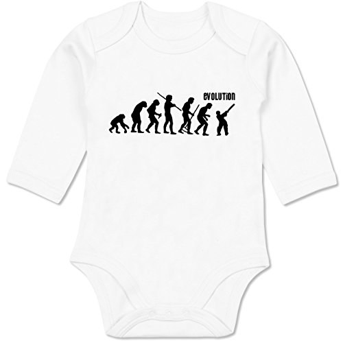 Shirtracer Evolution Baby - Cricket Evolution - 6/12 Monate - Weiß - BZ30_Body_Langarm - BZ30 - Baby Body Langarm