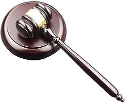 Holzhammer und runder Block, handgefertigter Holzhammer mit Block für Anwälte, Richter, Auktionsverkauf Hammer