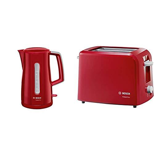 Bosch TWK3A014 Wasserkocher Compact Class, Frühstücksset, 2400 Watt, rot & TAT3A014 Kompakt-Toaster Compact Class, Frühstückset, rot