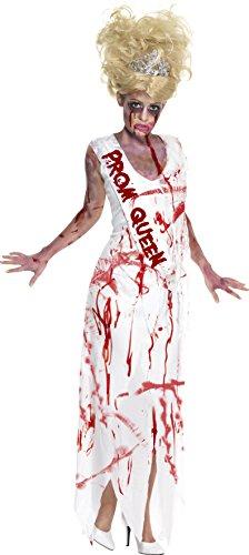 Smiffys Costume Prom Queen zombie horreur High School, Blanc, avec robe et écharpe attac