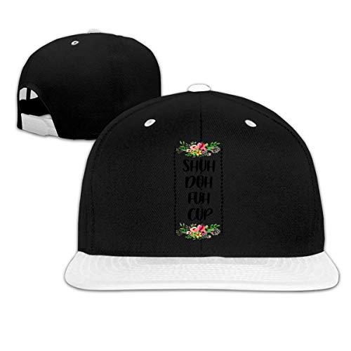 LLALUA Shuh Duh Fuh Cup Hip Hop Snapback Baseball Hat Adjustable Men White