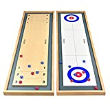 GoSports Shuffleboard and Curling 2 in 1 Table Top Board Game with 8 Rollers - Great for Family Fun (SHFL-01)
