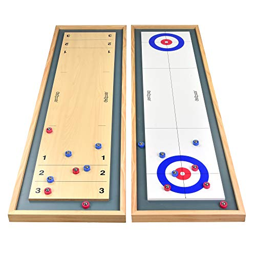 GoSports Shuffleboard and Curling 2 in 1 Table Top Board Game with 8 Rollers - Great for Family Fun...