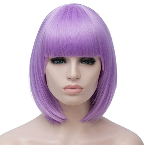 Bopocoko Short Light Purple Wigs for Women, 12'' Lavender Purple Bob Hair Wig with Bangs, Natural Fashion Synthetic Full Wig, Cute Colored Wigs for Daily Party Cosplay Halloween BU027LP