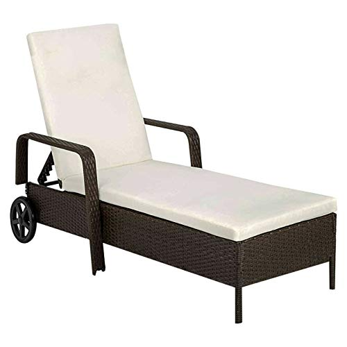 Sun Lounger Day Bed Outdoor Rattan Garden Furniture Set No Sliding Extra Large Relax Foam Reclining Sun Lounger With 8 CM Thick Cushions Day Beds Folding Sun Loungers (210.6 x 78 x 33) CM (Brown)