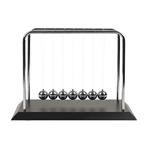 Newtons Cradle Balance 7 Balls with Black Wooden Base Science Physics Learning Fun Gadget for Office Desk Toys and Home Decoration-Large Black