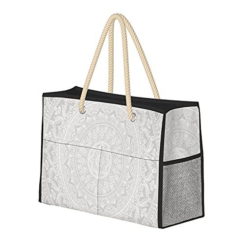 FJJLOVE Hombro grande Bolsa de Playa Mandala gris suave bolsa para las mujeres - la bolsa de asas del bolso con asas