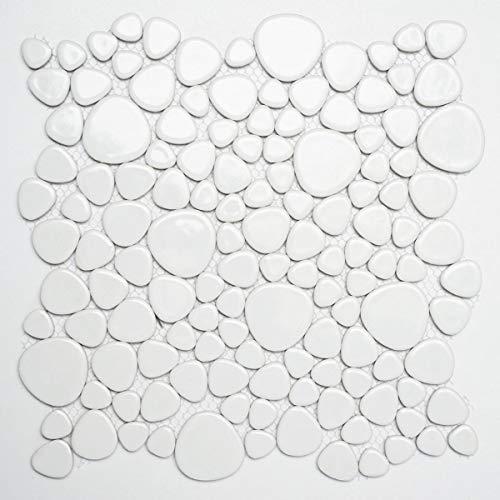 Kiezelmozaïek Pebbles keramiek wit glanzend douchebak tegelspiegel MOS12-0102_f | 10 mozaïekmatten