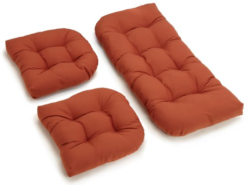 Blazing Needles Twill Settee Group Cushions, Spice, Set of 3