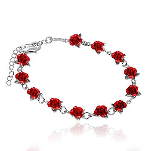 Uloveido Charm Red Flowers Pulsera Accesorios para mujer, Platino plateado Pulseras exquisitas Brazalete con 12 piezas Flores de rosa roja (Plata-Rojo) Y452