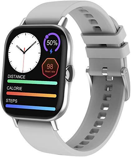 ANSUNG Relojes Inteligentes Llamada Bluetooth, Smartwatch IP67 para Mujer Hombre, Reloj Deportivo con Monitor de Sueño Pulsómetro Notifica Whatsapp, Pulsera Inteligente para Android iOS(Plata)