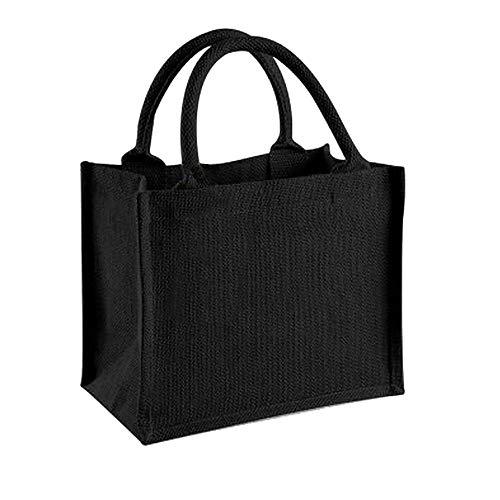 Westford Mill Jute-Tasche/Jute-Mini-Geschenktasche, 6 Liter (Einheitsgröße) (Schwarz/Schwarz)