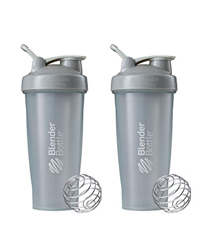 BlenderBottle Blender Classic Loop Top Shaker Bottle, 28-Ounce 2-Pack, Pebble Grey