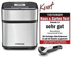 ROMMELSBACHER DANS 12 Machine à glace 'Kurt' (4-in-1 pour glaces, glaces Yaourt, Sorbet & Slush, volume de remplissage 500 ml pour 1,5 litre de glace, affichage LCD, y compris les cuillères à glace et les idées de recettes) Acier inoxydable, noir