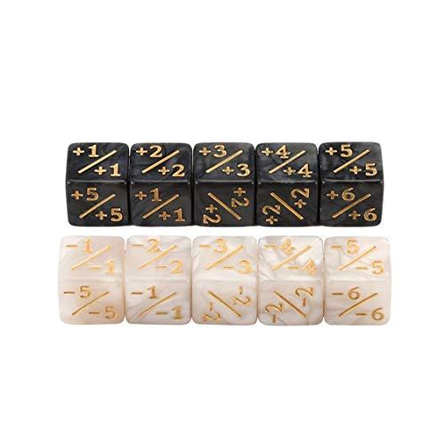 VIGE 10x Würfelzähler 5 Positiv + 1 / + 1 & 5 Negativ -1 / -1 Für Magie Das Sammeltischspiel Lustige Würfel Hohe Qualität - Weiß + Schwarz