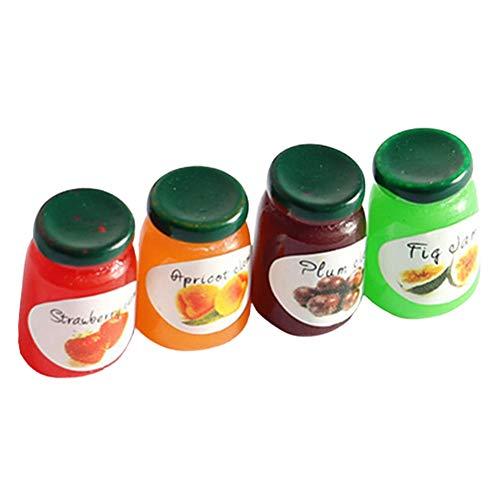 bdrsjdsb 4 Pezzi Bottiglia di Bevanda Alimentare in Miniatura Casa delle Bambole Mini Simulazione Marmellata Modello di Cibo Bambola Bevande Giocare Ornamenti da Cucina Accessori Giocattolo 1