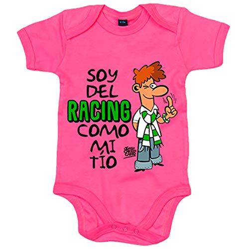 Body bebé soy del Racing como mi tio - Rosa, 6-12 meses