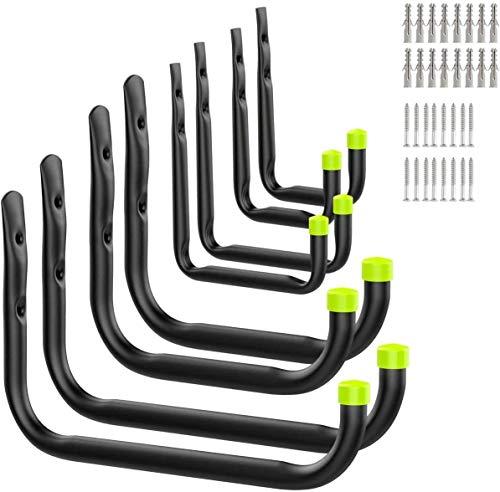 Wuudi Wandhaken 8 teilige Set Hacken Garage Metallhaken zum Schrauben Wand-Befestigungshaken für Leiter & Geräte schwarz+grün