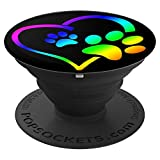 Rainbow Dog Paw Print Rescue Lover Gift Heart Black - PopSockets Grip and Stand for Phones and Tablets