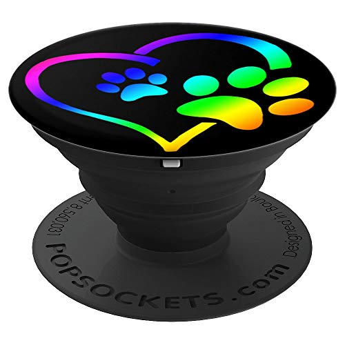 Rainbow Dog Paw Print Rescue Lover Gift Heart Black PopSockets Grip and Stand for Phones and Tablets