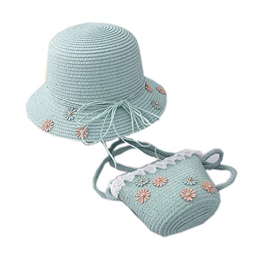 XLY - Cappello di paglia per bambini e piccola tasca per la pesca, per capanna da pesca, con visiera a fiore, borsa da spiaggia, 1