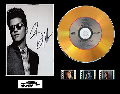 Bruno Mars - Pantalla para CD (Efecto Vinilo, 3 Celdas), Color Negro o Dorado, Diseño sin enmarcar 1, Gold Disc, 24k Magic Unframed