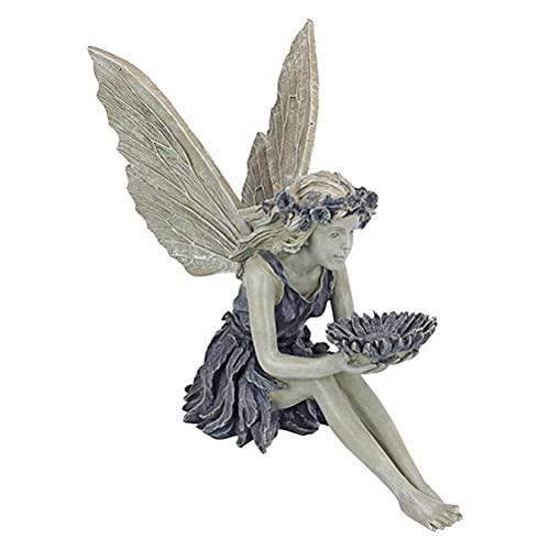 Hopowa Figurín para jardín, Adorno de jardín estatuilla de Elfos Figura de Hada sentada con alas, artesanía de Resina decoración de jardín estatuillas