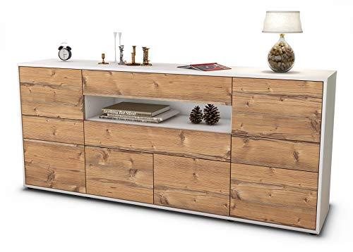 Stil.Zeit Sideboard Emerelda/Korpus Weiss matt/Front Holz-Design Pinie (180x79x35cm) Push-to-Open Technik & Leichtlaufschienen